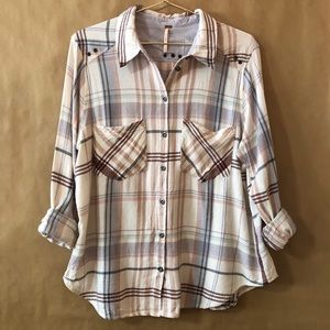 Free People   Wesley Plaid Top Button Front Shirt